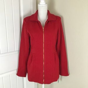 Rampage Red Jacket Zip Un Hand pockets Fit & Flare